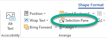 The Selection Pane button is on the Format tab, in the Arrange group.