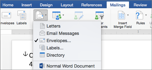 On the Mailings tab, select Envelopes from the Start Mail Merge list