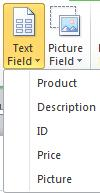 Insert text fields in a catalog merge