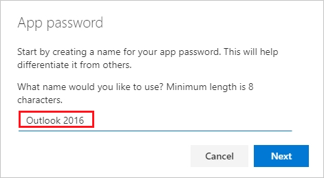 Create app passwords page, with name of the app password