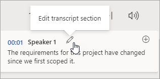 Select Edit transcript section