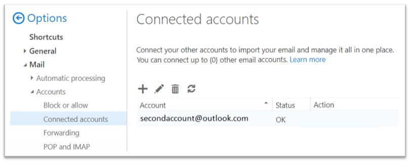 Office 365 - Connected accounts option