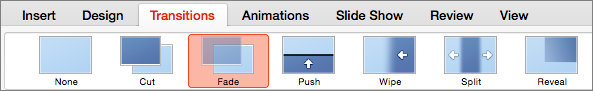 Options on the Transitions tab