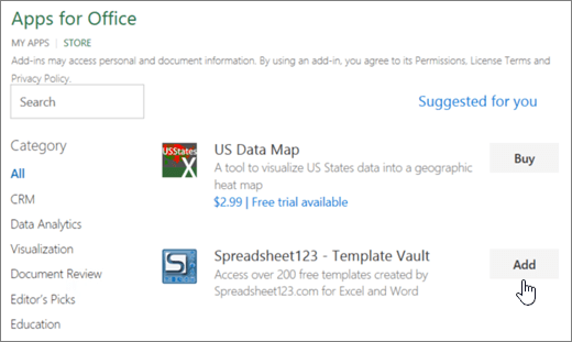 Screenshot shows the Office Add-ins page where you can select or search for an add-in for Excel.