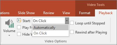 Shows PowerPoint Video Options