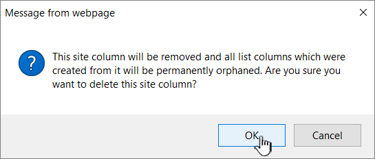 Confirm deletion by clicking OK