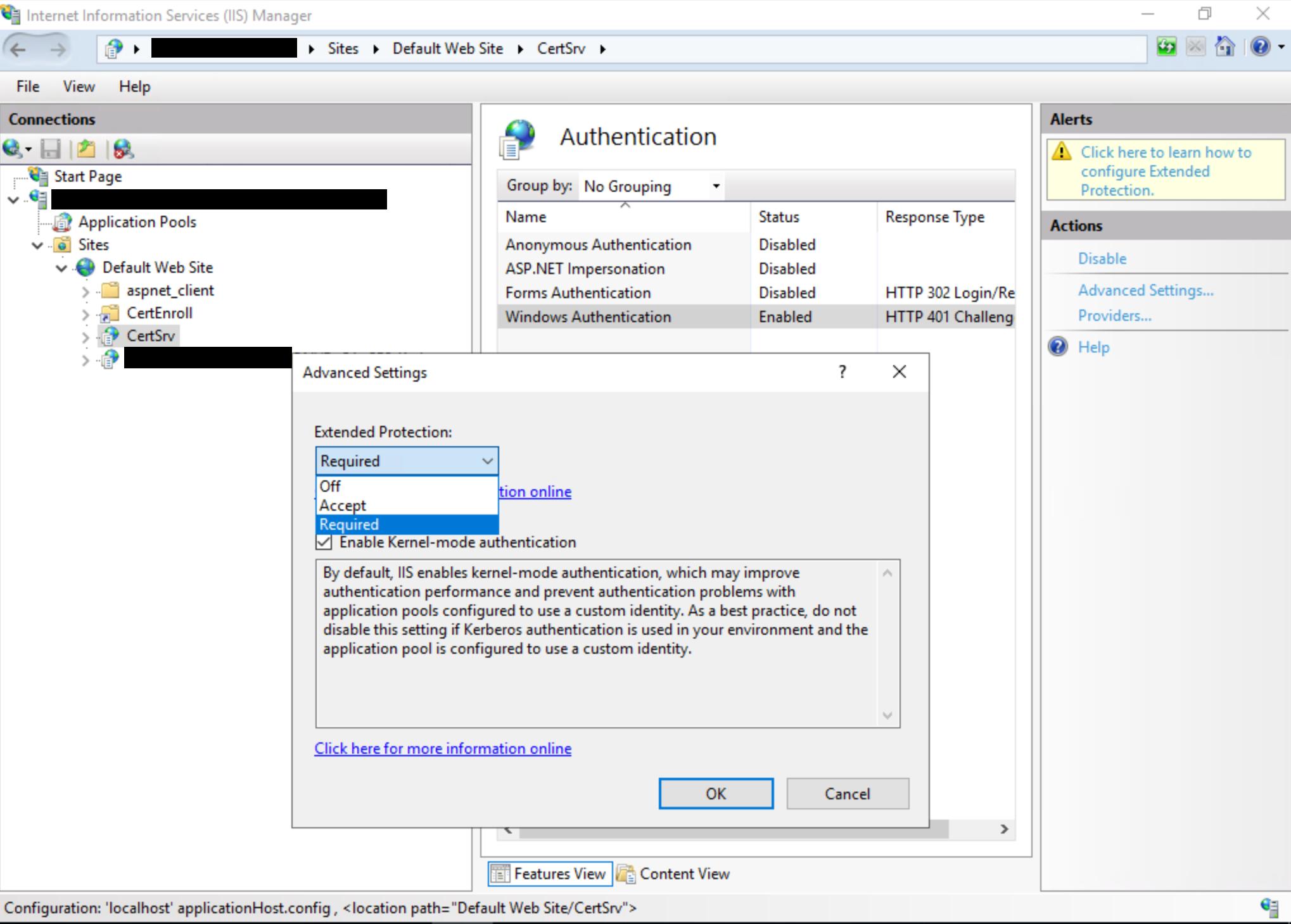 Certificate Authority Web Enrollment dialog