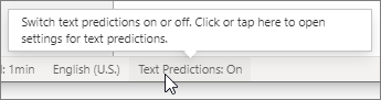 Text Predictions switch on the status bar