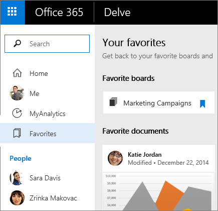 Select Favorites to display favorite documents and boards