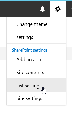 Settings menu with List settings highlighted