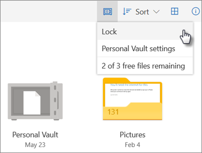 Screenshot of locking Personal Vault in OneDrive