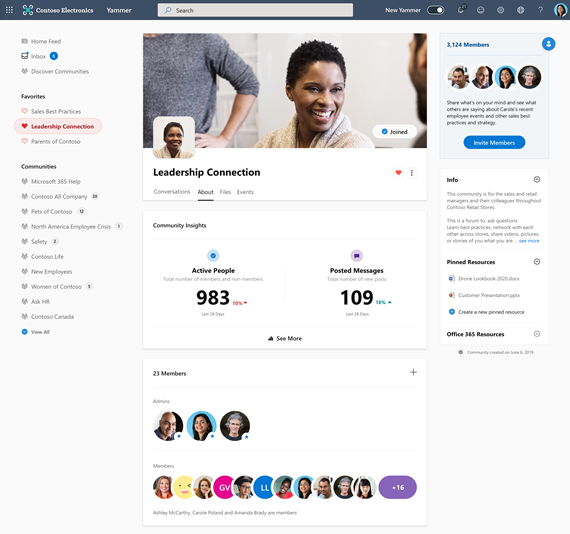 Screenshot showing community insights in Yammer after user clicks See More