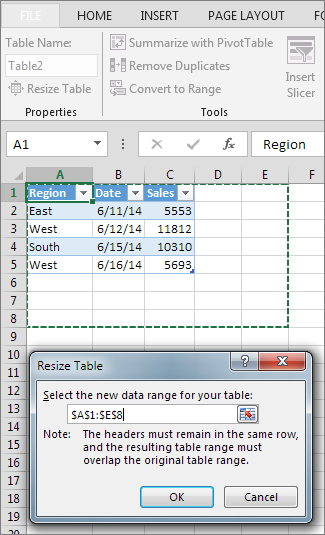 Resize a table by adding or removing rows and columns excel - How to add a column in a table ...