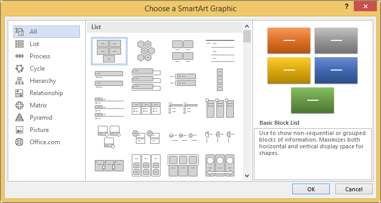 Choices in the Choose a SmartArt Graphic dialog box