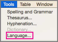 Office for Mac Tools Language Menu