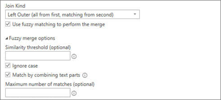 Fuzzy merge options in the Merge dialog box