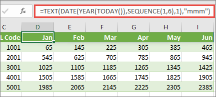 Excel worsksheet with SEQUENCE function
