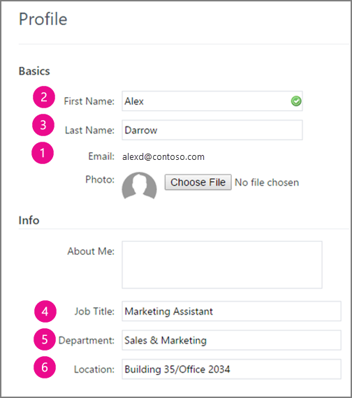 Screenshot of the profile fields that are synced in Yammer