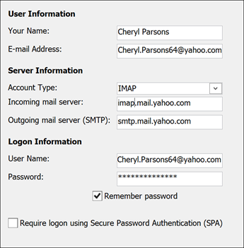 Enter your server information for Yahoo