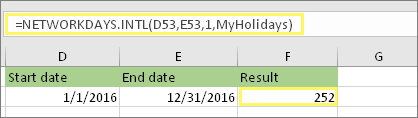 =NETWORKDAYS.INTL(D53,E53,1,MyHolidays) and result: 252