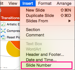 Shows the Insert menu in PowerPoint 2016 for Mac