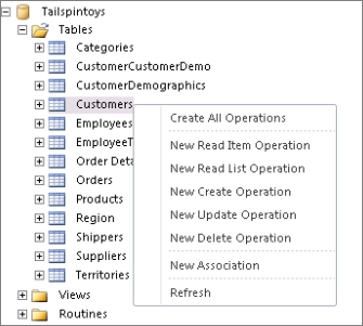 Screenshot that shows the Tailspintoys database in SharePoint Designer. If you right clik on the table name, a menu appears where you can select operations to create.