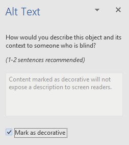 Word Win32 Alt Text pane for decorative elements