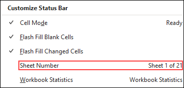 Enable the Sheets option from the Status Bar