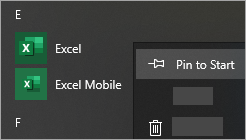 Screenshot showing how to pin an app to start menu