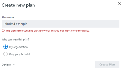 Screenshot: Group naming policy - create new plan blocked example