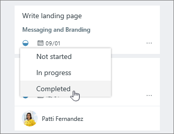 Click the progress icon and change status