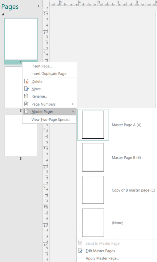 A screenshot shows the shortcut menu option selected for Master Pages with master page options available.