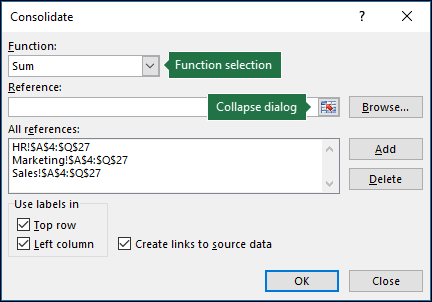 Data Consolidation dialog