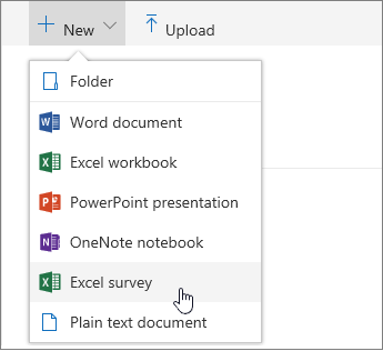 New menu, Excel survey command