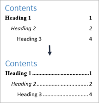 Shows adding dot leaders to a table of contents