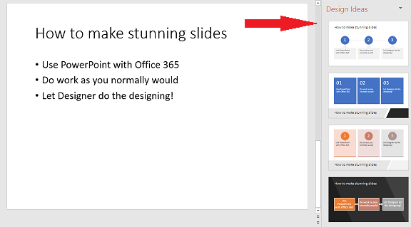 Sample of a basic slide that PowerPoint Designer can change to a graphic