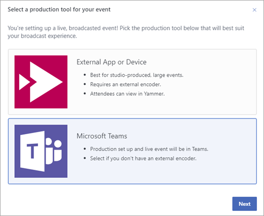Yammer live event showing Teams as the production tool