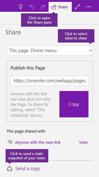 Screenshot of sending a copy of notes from OneNote