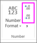 increase or decrease decimal places on number formatting