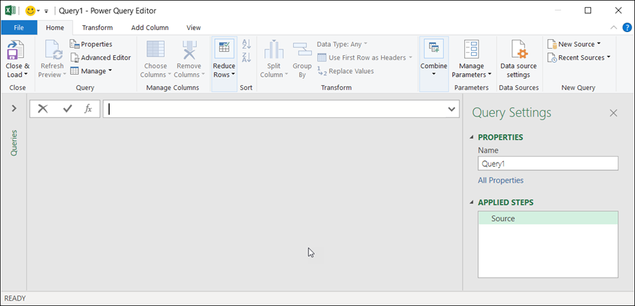 Query Editor in Excel 365