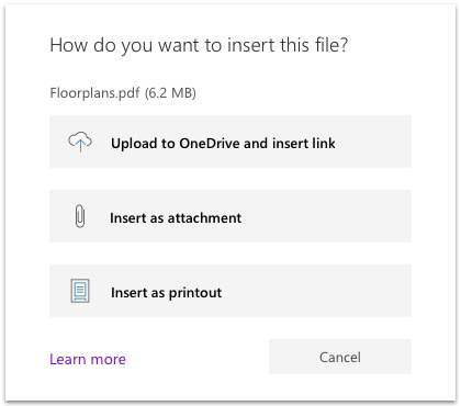 Insert File option in OneNote for Windows 10