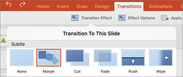 Shows the Morph transition in the transition menu in PowerPoint 2016 for iPad