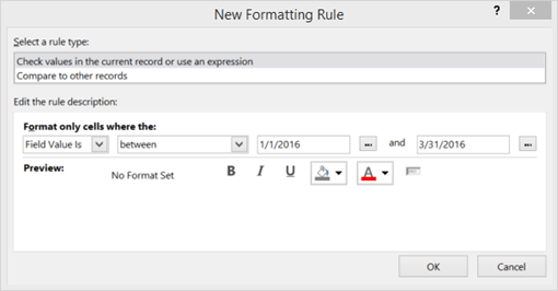 Screen shot of New Formatting Rule interface