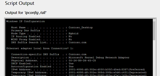 Script output info shown in the wireless network report