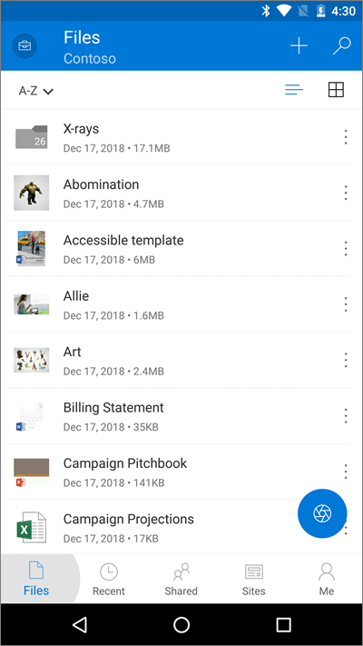 Screenshot of OneDrive mobile app with Files button highlighted