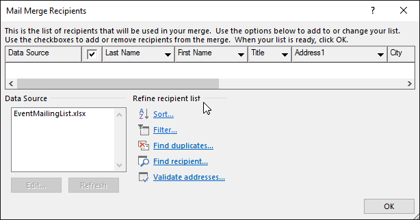 In a Word mail merge document, choose Edit Recipients and in the Mail Merge Recipients dialog box, under Refine recipient list, choose an option.