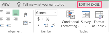 Open in Excel button