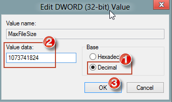 Edit DWORD Value window