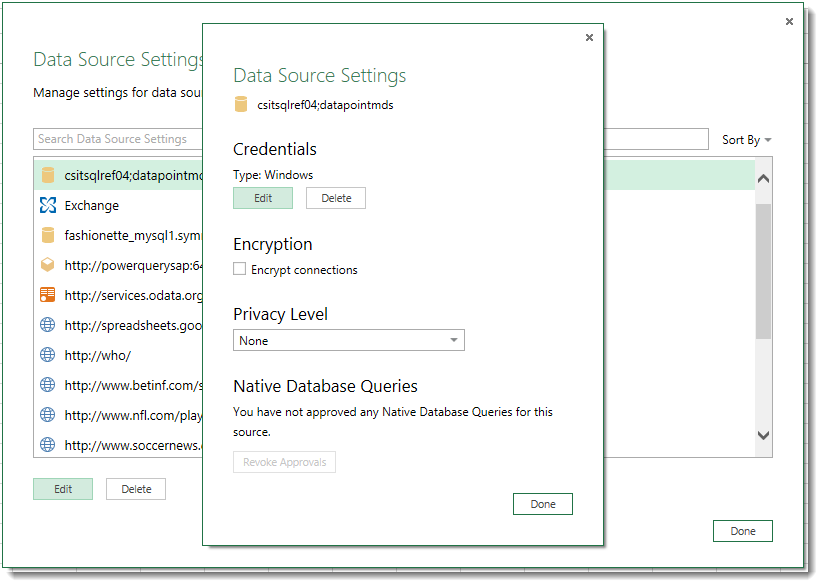 The Edit dialog for Data Source Settings