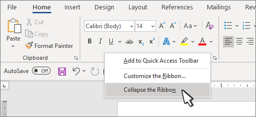 Collapse the ribbon selection